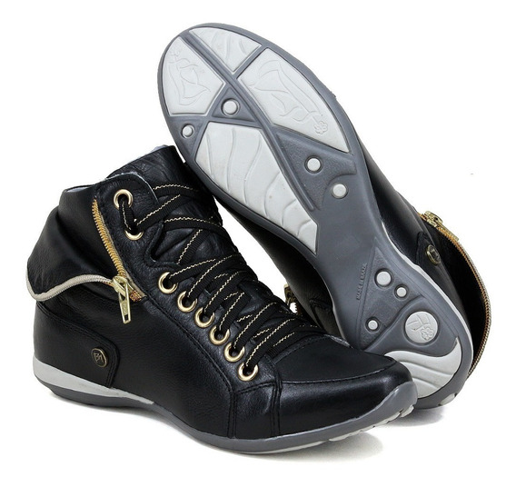 Bota Sneakers 100% Couro Feminino Tênis Cano Alto Casual