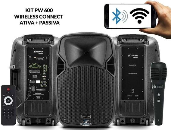 Kit Caixa Ativa + Passiva Pw600 1200w Rms Wirelles Frahm