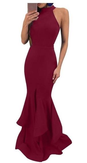 Vestido Corte Sirena Color Vino Vestidos En Mercado Libre