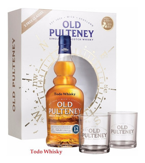 Whisky Single Malt Old Pulteney 12 Años Gift Pack + 2 Vasos