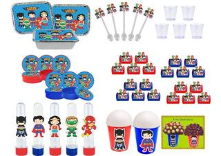 Kit Festa Liga Da Justiça Baby (cute) 152 Peças (20 Pessoas)