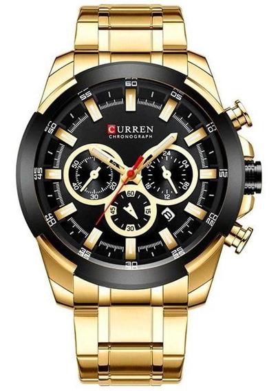 Relógio Masculino Curren 8361 Dourado Aço Inox Cronógrafo