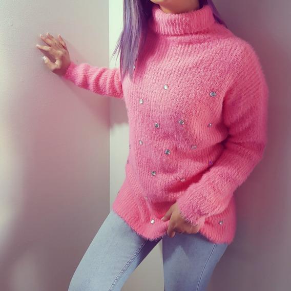 Suéter Invierno Rosado Mujer Cristales Cuello Tortuga Moda