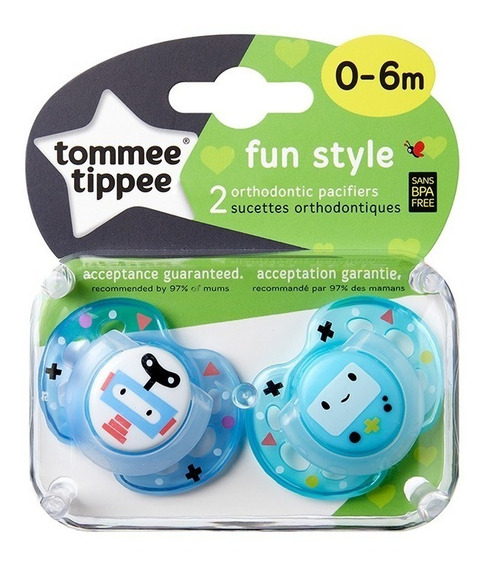 Chupete Tommee Tippee Silicona Fun Style 0-6m X2 Unidades