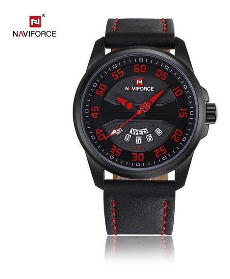 Relógio Masculino Inox Pulseira Couro 30m - Preto E Vermelho