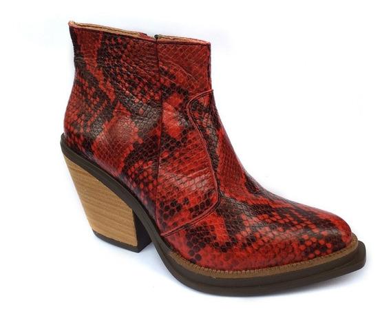 Zapato Mujer Bota Texana Cuero Reptil Rojo