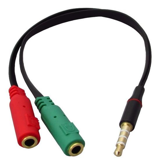 Cabo Adaptador P3(p2 Combo)p/ Fone E Microfone Headset Preto