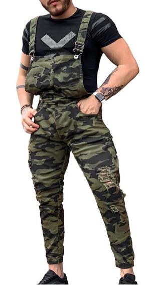 Macacão Jeans Camuflado Super Skinny Destroyed Masculino