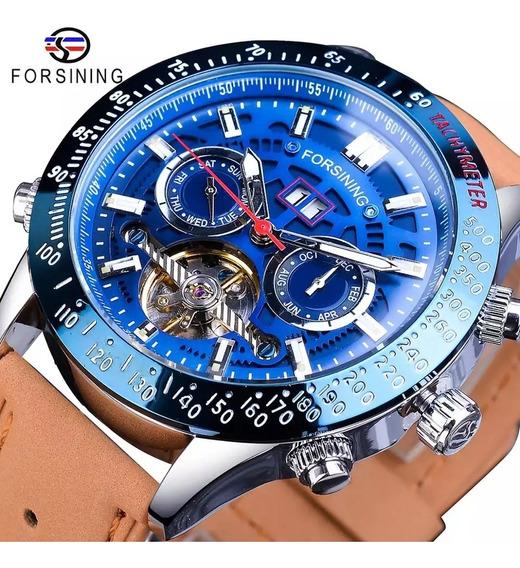 Relógio Masculino Forsining Automático Mecânico Azul Pulseir