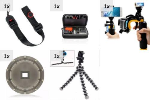 Kit Gopro Disparador Alça Maleta Dome Hero 5 6 7 Black Ação