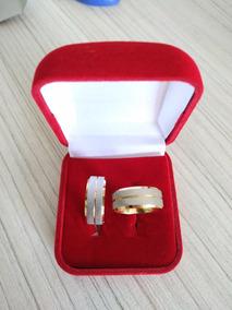 Par Alianças Prata Com Filete De Ouro 18 K
