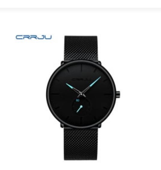Relógio De Pulso Masculino Crrju Modelo 2150 Em Aço Inox