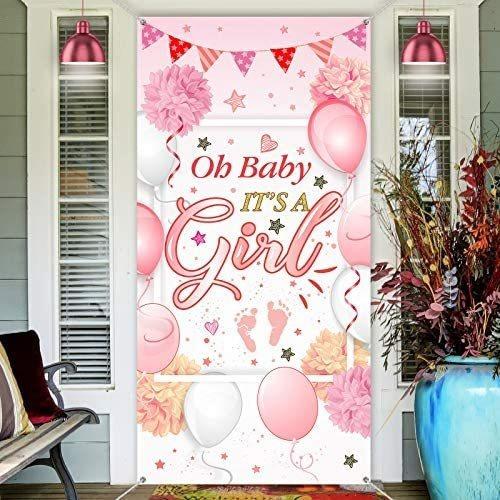 Imagen 1 de 8 de Baby Shower Decoraciones Bienvenido Es Una Muchacha Muestra