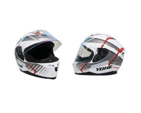 Capacete Yohe Modelo Tronik 967 Branco Preto E Vermelho
