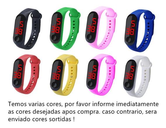 5 Relógio Digital Pret Bracelete Led Unissex Adulto Infantil