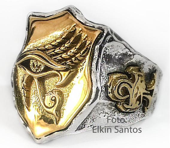 Anel Olho Hórus Banhado Em Ouro Egípcia Prata 925 Ajustável