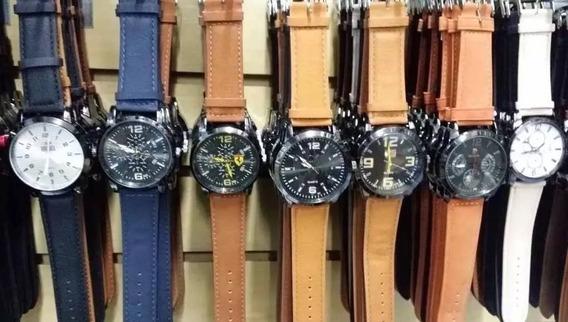 Kit Com 10 Relógios Masculino Pulseira De Couro Promoçao