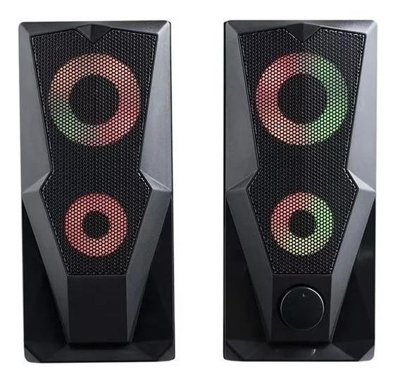 Caixa De Som Pc Gamer Usb Led Rgb P2 15w Rms Stereo - Sp330