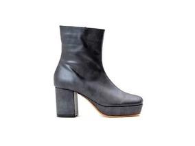 Zapato Mujer Botineta Natacha Cuero Negro Plomo #1022m