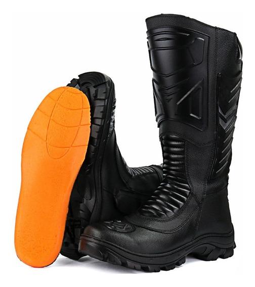 Bota Coturno Fran Boots Militar Moto Cano Longo Couro