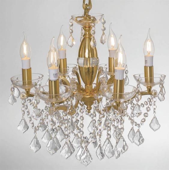 Lustre Tipo Candelabro Aurum Dourado 6 Lâmpadas G-light