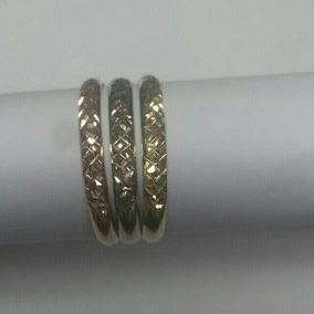 Anel Feminino Triplo Três Cores Diamantado Em Ouro 18k 750.