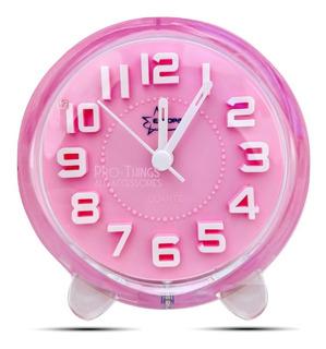 Reloj Despertador Redondo Niños Acrílico Kids 3d Alarma Luz