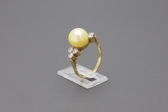 |1639| Anel Antigo Ouro Amarelo 18k Com Perola E Brilhantes