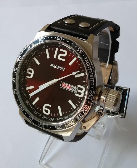 Relógio Masculino Magnum Prateado Pulseira Couro Ma31542v.