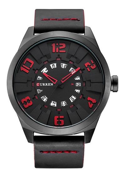 Relógio Masculino Curren Analógico 8258 - Preto E Vermelho