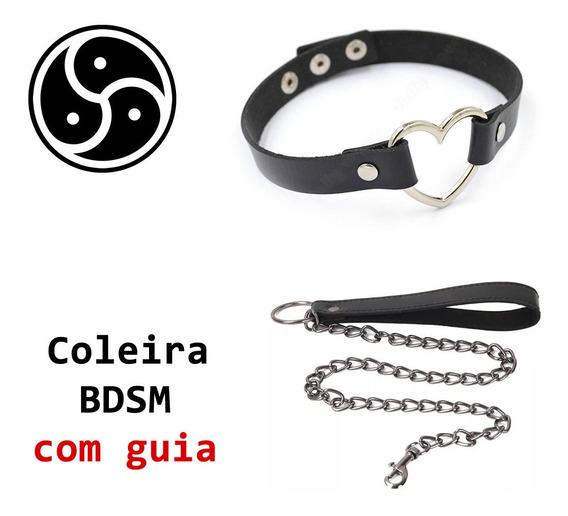 Kit Coleira + Guia Bdsm - Submissa Couro Ecológico - Choker