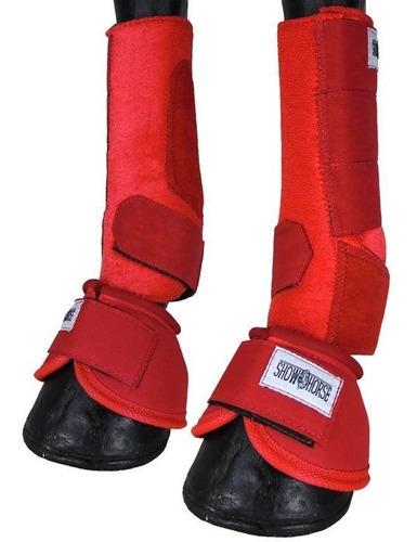 Imagem 1 de 6 de Kit Cloche E Caneleira Vermelha Para Cavalo