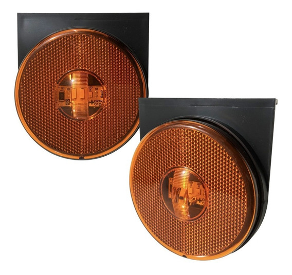Kit 12 Lanterna Lateral Carreta Randon Led Bivolt Laranja