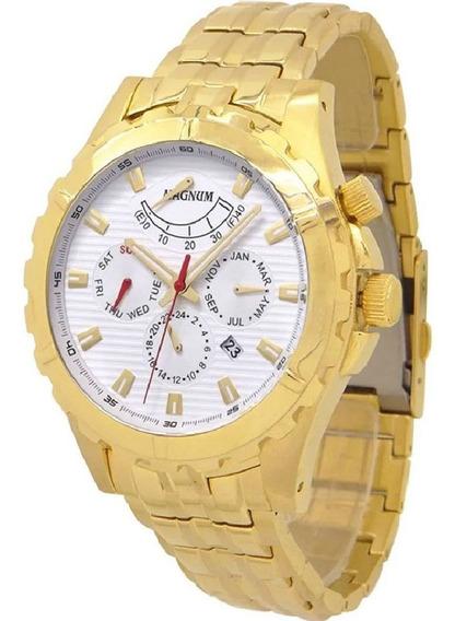Relógio Magnum Masculino Automático Dourado Grande Ma33988h