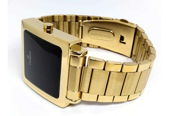 Relógio Dourado Digital Quadrado Champion Ch40197h - Nfe