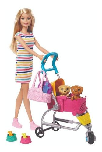 Imagen 1 de 1 de Barbie Mattel Carriola De Perritos Ghv92