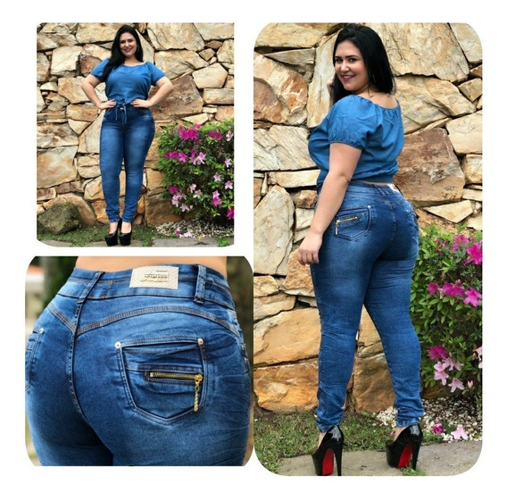 Kit 2 Calças Jeans Femininas Plus Size Elastano Frete Gratis
