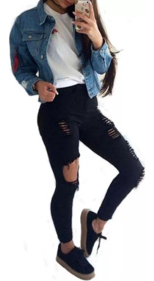 Calça Jeans Roupa Feminina Cintura Alta Dins Rasgada Ref 50f