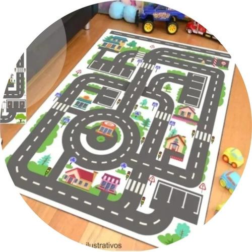 Imagem 1 de 5 de Painel Lona Tapete P/ Brincar Pista Hot Wheels Mapa Cidade