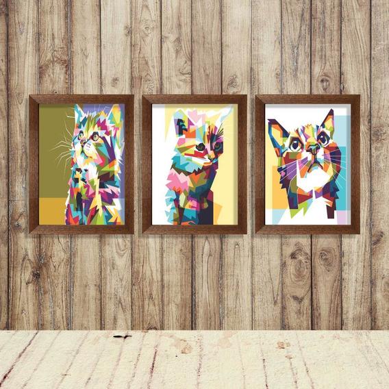 Kit Trio De Quadros Gatos Pop Art Colorido Arte Cor 50x70cm