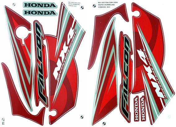 Faixas / Kit Adesivos Honda Nx400 Falcon 2008 Vermelha