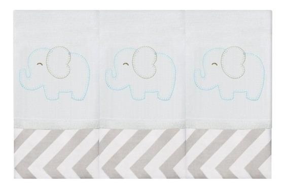 Kit Fralda De Boca Bordada Elefante Chevron Tiffany 3 Pçs