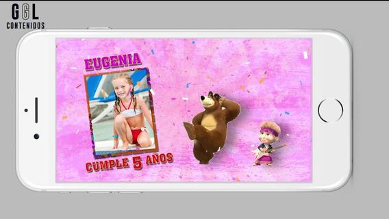Masha Y El Oso Invitación Virtual Video Whatsapp Cumpleaños