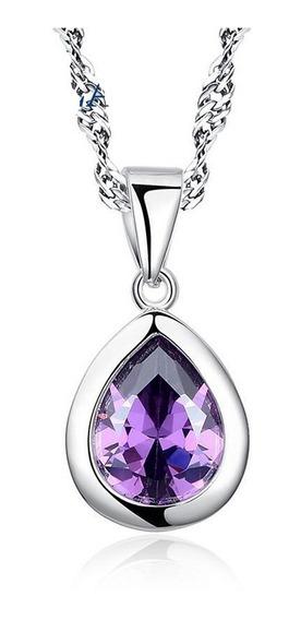 Collar Plata 925 Con Cadena Gota Amatista Purpura Mujer Fino
