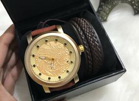 Relógio Masculino S1 Com Pulseira De Couro Na Promoção!