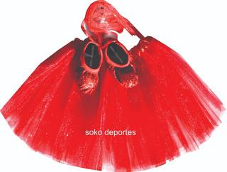 Zapatillas Elastizadas Glitter Ballet + Tutu Brilloso Soko