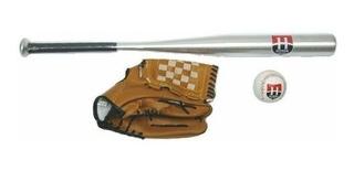 Kit Taco De Baseball De Alumínio Com Bola E Luva Hyper