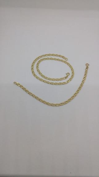 Conjunto De Pulseiras, Corrente Chata Em Ouro 18 K. 750.