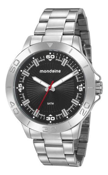 Relógio Masculino Prata E Preto Mondaine 76756g0mvne1