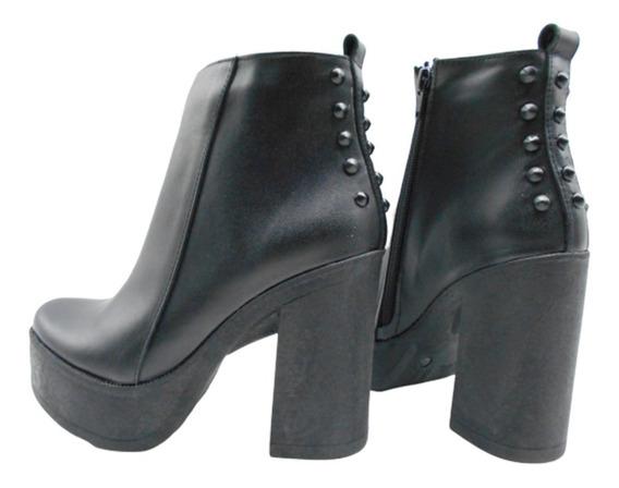Botineta Cuero Plataforma Tacha Taco Alto 675pm Zapato Mujer